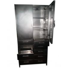 Шкаф из нержавеющей стали, распашные двери, ящики